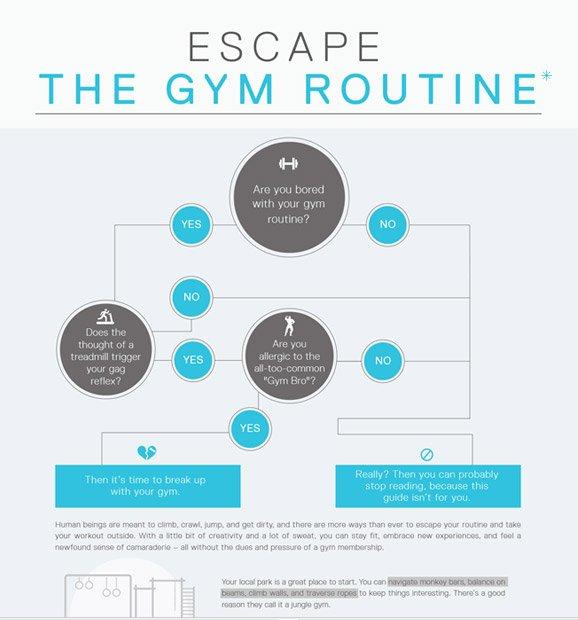 Escape the gym routine
