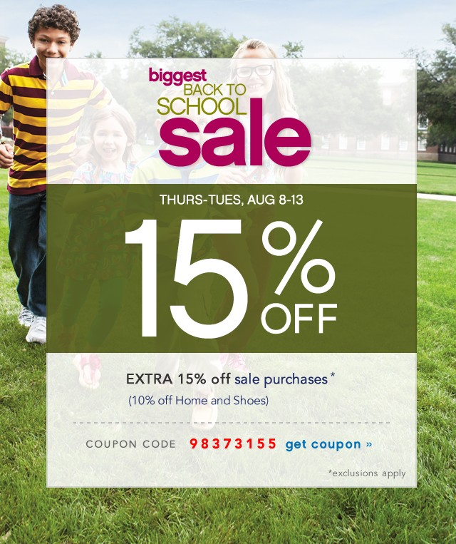 Back to School Sale and Clearance. Extra 15% off. Get coupon.