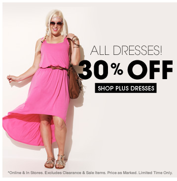 Shop 30% OFF All Plus Dresses!