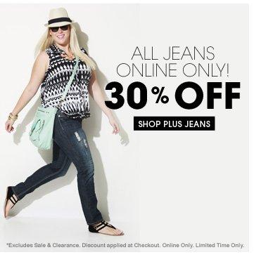 Shop 30% OFF All Plus Jeans!