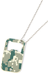 The Army Digital Camo Dog Tag Bottle Opener in Olive Camo