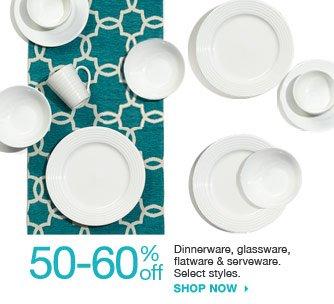 50-60% off Dinnerware, glassware, flatware & serveware. Select styles. shop now