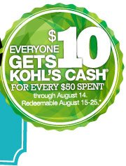Everyone gets $10 Kohl's Cash for every $50 spent through August 14. Redeemable August 15-25.