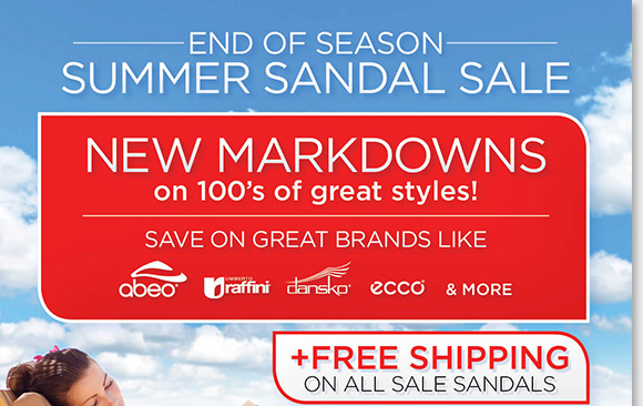 Find NEW markdowns and save on over 100+ great sandals from Dansko, ABEO B.I.O.system, Raffini, ECCO and more for women and men during our end of season Summer Sandal Sale. Enjoy FREE Shipping.* Find the best selection when you shop online and in-stores at The Walking Company.