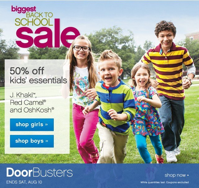 Back to School Sale and Clearance. 50% off kids essentials.