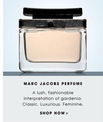 MARC JACOBS PERFUME. A lush, fashionable interpretation of gardenia. Classic. Luxurious. Feminine. SHOP NOW