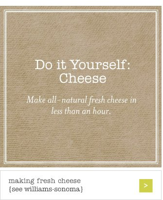 Do it Yourself: Cheese -- Make all-natural fresh cheese in less than an hour. -- making fresh cheese {see williams-sonoma}