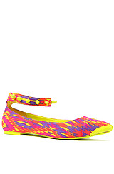 Moo Flat in Yellow Multi with Studded Ankle Strap