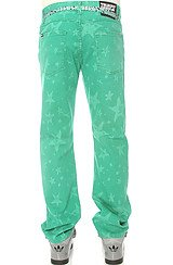 All Over Printed Denim Jeans in Vivid Green