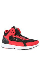 Owen Mid Sneaker in Red Microfiber, Black Mesh, Gold Accents