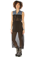 Shelley Denim & Sheer Contrast Dress in Black