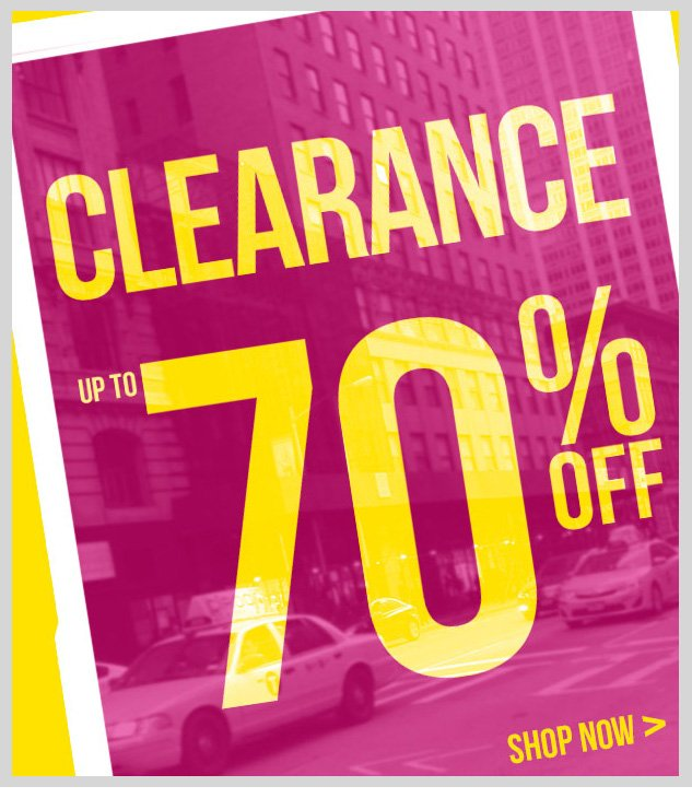CLEARANCE SALE! Up to 70% OFF! SHOP NOW!