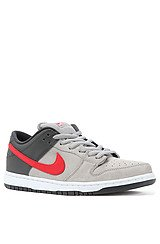 Dunk Low in Gray, University Red, and Light Gray