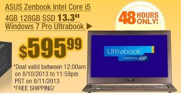 "$595.99 -- ASUS Zenbook Intel Core i5 4GB 128GB SSD 13.3"" Windows 7 Pro Ultrabook"