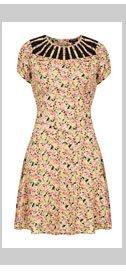 Lace Insert Floral Tea Dress