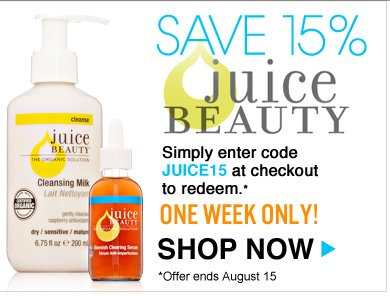 Save 15% on Juice Beauty Juice Beauty's complete range of organic skin care products are 15% off! Simply enter code JUICE15 at checkout to redeem. One Week Only! Shop Now>>