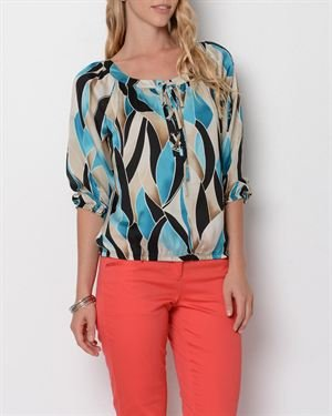 Zac & Rachel Printed Lace-Up Blouse