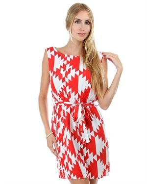 Auditions Two-tone Printed Dress Made in USA
