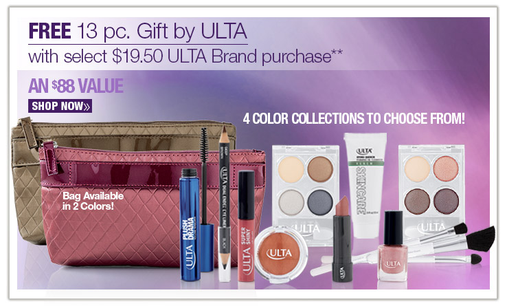 FREE 13 piece Gift Bag by ULTA with select $19.50 ULTA Brand purchase. AN $88 VALUE! 4 color collections to choose from. shop now