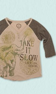 Take It Slow Baseball Henley