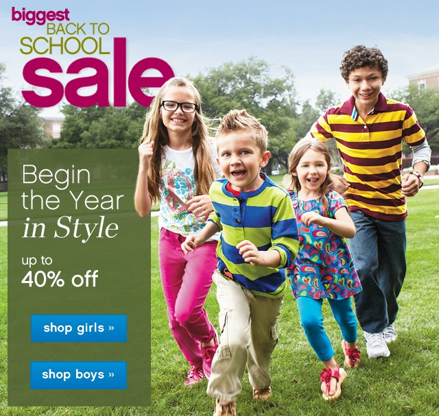 Biggest Back to School Sale. Up to 40% off.