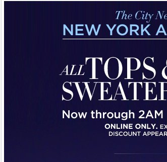 All Tops and Sweaters are up to 50% off.