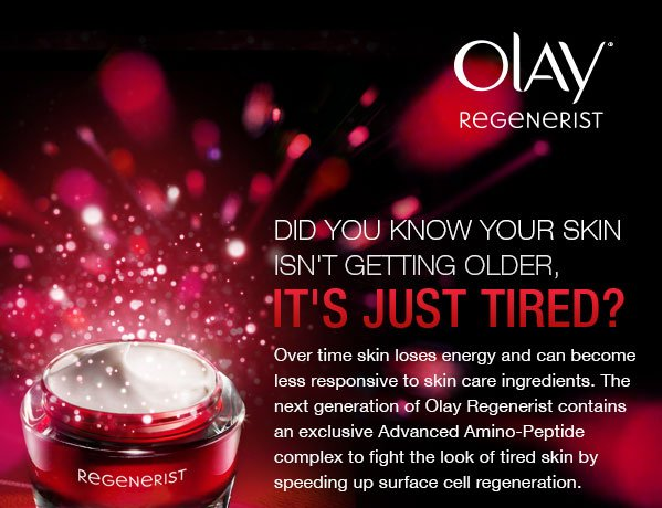 Over time skin loses energy and becomes less responsive to skin care ingredients. The next generation of Olay Regenerist contains an exclusive Advanced Amino-Peptide complex to fight the look of tired skin by speeding up surface cell regeneration.