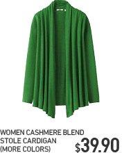 WOMEN CASHMERE BLEND STOLE CARDIGAN
