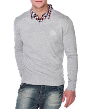 Urban Surface Embroidered Detail Marl Pullover Made In Europe