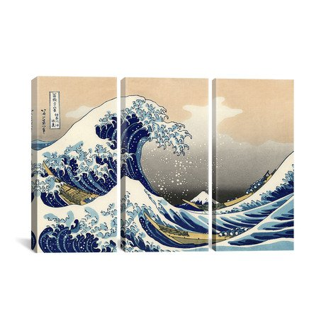 The Great Wave 1829 by Katsushika Hokusai // Triptych