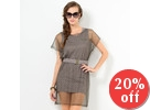 Set: Print Tank Dress + Mesh Dress + Belt
