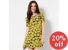 Shirred-Sleeve Floral Print A-Line Dress