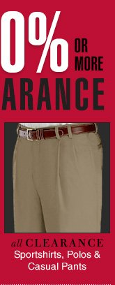 Clearance Sportshirts, Polos & Casual Pants - Reduced 40% or more