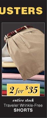 2 for $35 USD - Traveler Wrinkle-Free Shorts