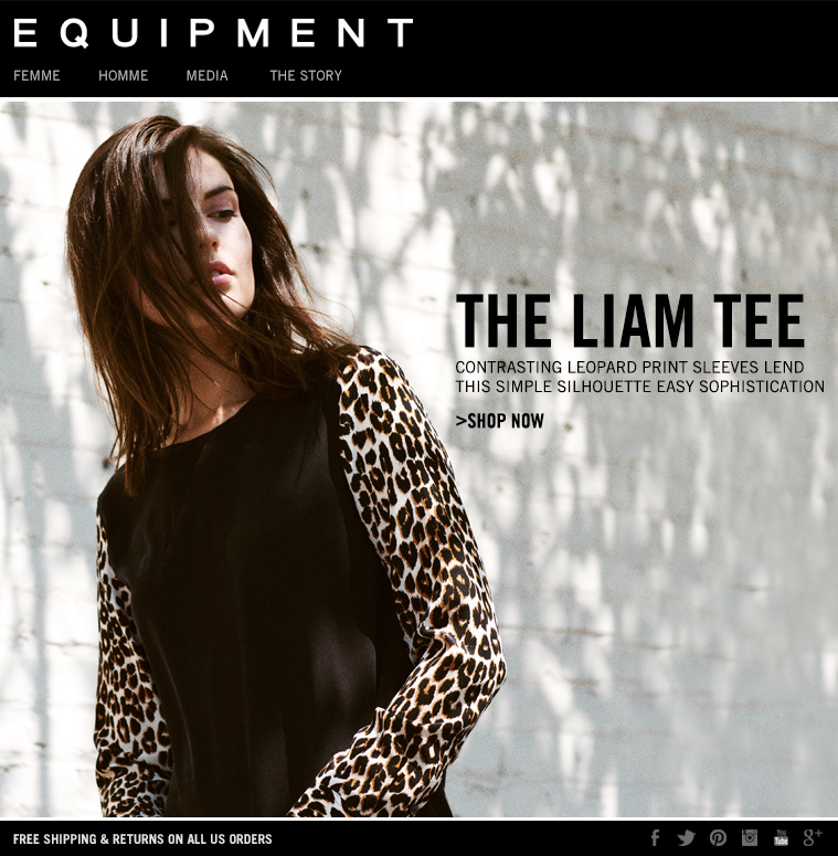 THE LIAM TEE CONTRASTING LEOPARD PRINT SLEEVES LEND THIS SIMPLE SILHOUETTE EASY SOPHISTICATION >SHOP NOW