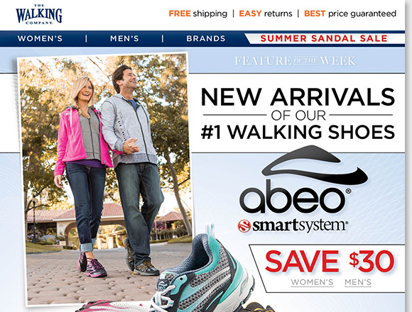 Feature of the Week: Save $30 on NEW ABEO SMARTsystem arrivals for women and men. Developed and tested at Stanford University, SMARTsystem could be your ideal walking shoes if you are approaching 50, have knee pain, a knee injury and more. Learn more and shop the collection at The Walking Company.