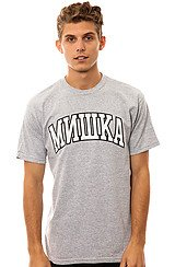Cyrillic Varsity Tee in Heather Gray