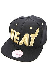 The Miami Heat Metallic Snapback Cap in Black & Gold