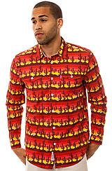 Desert Sessions LS Buttondown Shirt in Sunset Red