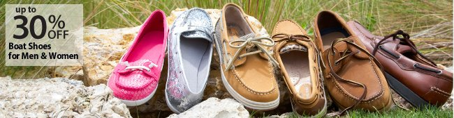 Up to 30% off Boat Shoes for Men and Women