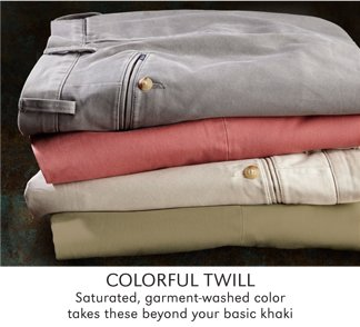 COLORFUL TWILL | SATURATED, GARMENT-WASHED COLOR TAKES THESE BEYOND YOUR BASIC KHAKI | SHOP ALL POLO RALPH LAUREN