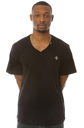 The Core Collection Solid V-Neck Tee in Black
