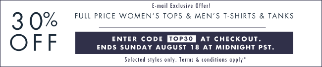 30% off Tops! Use code TOP30