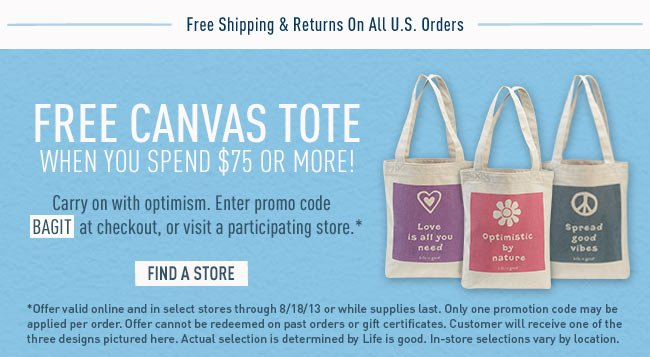 Spend $75 get a Free Tote Bag - Promo Code: BAGIT