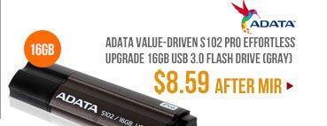 ADATA Value-Driven S102 Pro Effortless Upgrade 16GB USB 3.0 Flash Drive (Gray)