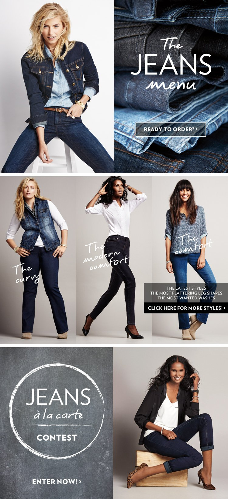 The Jeans Menu | The Latest Styles, The Most Flattering Leg Shapes, The Most Wanted Washes. Ready To Order?