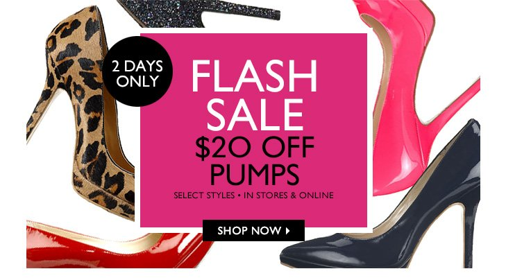 Click here to shop $20 off pumps.