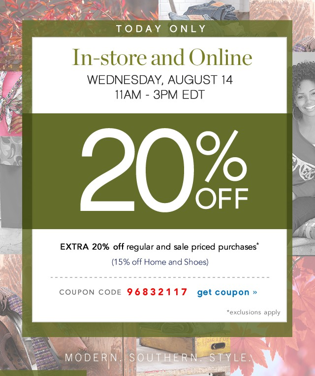 Extra 20% off. Today only. Get coupon.
