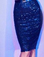 Sequin High Waist Pencil Skirt