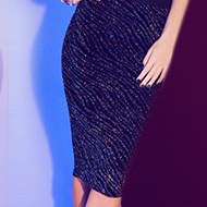 Zebra Lurex High Waisted Midi Skirt